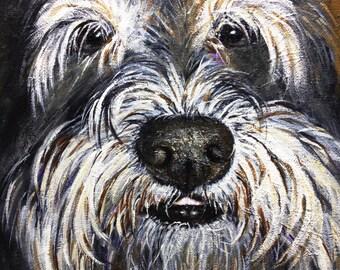 Original painting for sale,11x14, dog art, pet art, Mini Schnauzer, dog portrait, Acrylic painting, funny dog painting personalized pet art