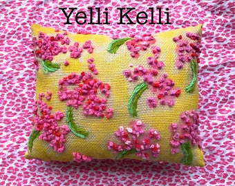Geranium Toss Freehand Embroidered Pillow Ready to Ship YelliKelli