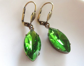 Green Earrings, Art Deco Earrings, Green Vintage Style, Downton Abbey Inspired, Victorian Earrings, Gift for Her, Redpeonycreations