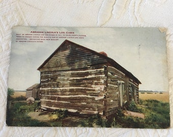 Victorian Abraham Lincoln's Post Card. Ab Lincoln's Log Cabin on Unused Post Card from 1903 to 1908. V. D. Hammon Publishing Co, Chicago.
