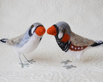 Mr. or Mrs. Zebra Finch, needle felted pet bird sculpture