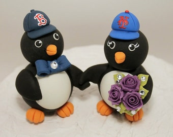 Holding hands penguin cake topper for a wedding cake, customizable, with banner