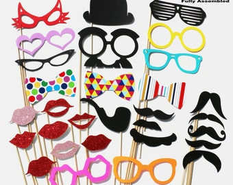 Photobooth Props - Wedding Photo Booth Props 30 Piece Set - Party Photo Props