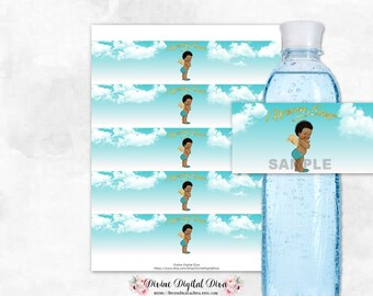 Heaven Sent Water Bottle Labels Little Angel Wings Halo Turquoise Blue Clouds | African American Baby Boy | Digital Instant Download