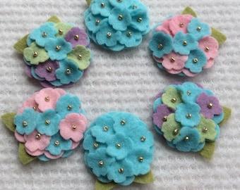 New Aqua Wool Felt Mini Hydrangeas