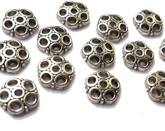 20 cups flowers nickel free, silver, diameter 8mm (AP127)
