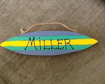 Custom beach surfboard sign