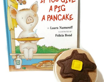 Felt Pancake Gift Set with bonus If You Give A Pig A Pancake book - gift packaging included!! eco-friendly felt play foods!