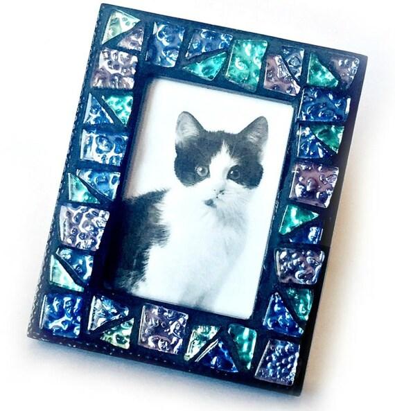 Blue Green Purple Mosaic Frame, Small Photo Frame, Sparkle Glass Tile Mosaic Frame, Mini Mosaic Frame, Blue Green Black Mosaic Frame