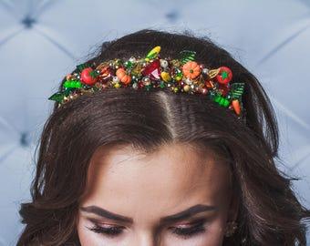 Vegetable dolce headband Fruit headpiece Yellow red tiara Bridal Shower Party Fruit Prom Festive Fall Baroque headband Summer wedding crown