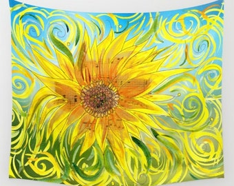 """Sunflower Throw Blanket  -  """"Sunflower Symphony""""  blanket throw  - gold, blue, music, notes, floral- beautiful  decor,  cozy gift"""
