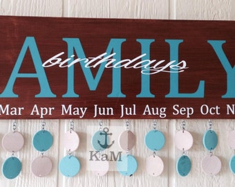Wood Birthday and Anniversary calendar with 20 discs