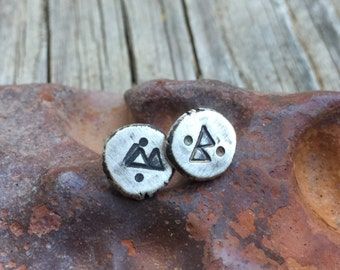 Sterling Silver Rune Earrings - Rustic Hand Forged Elder Futhark Berkana Studs - Unisex Viking / Norse Jewelry Eco-Friendly Reclaimed Silver