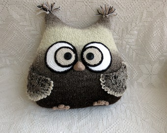 Owl Pillow toy Knitted Pillow Owl Stuffed Toy gift man cushion handmade coffee with milk color Ready to ship