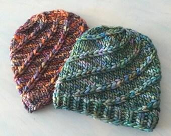 Mega Spun Instant PDF DOWNLOAD Knitting Pattern Super Bulky Beanie Pattern Chunky Knit Hat Pattern Unisex Adult Hat Pattern