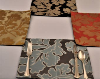 6 Silk Placemats Upcycled Fabrics Eco Friendly Colorful Foliage OOAK