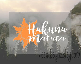 Hakuna matata vinyl car decal car window decal, vinyl window decal, window sticker, happiness quotes, king lion decal, car window decal
