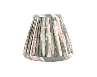 Hand pleated abstract mini lampshade chandelier sconce gathered grey pink white lamp shade handmade home decor