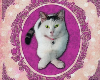 "Cat 1: Applied pattern cat ""Niouniou"" cotton twill"