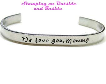 Custom Cuff Bracelet; Hand Stamped Metal Expandable Cuff Bracelet; Personalized Cuff Bracelet; Aluminum; Secret Message Bracelet