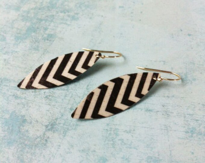 Boho Earrings - clip on earring - boho chic - paper earrings - geometric pattern -dangle and drop  gift for her -feather shape - black white