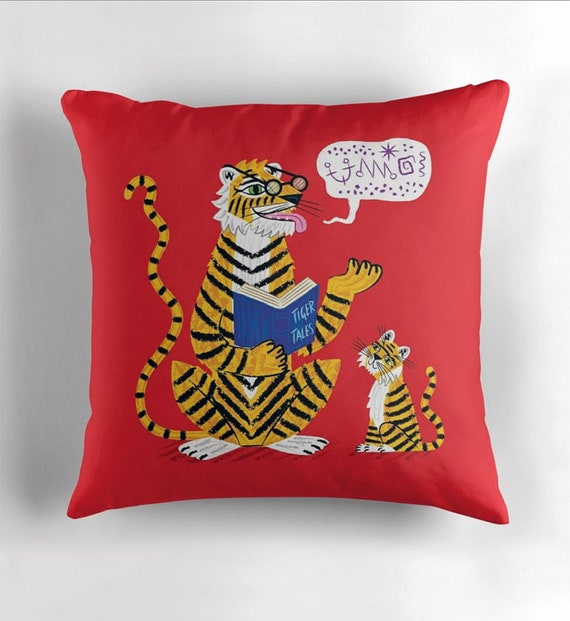 Tiger Tales - throw pillow cover / cushion cover including insert by Oliver Lake - iOTA iLLUSTRATiON
