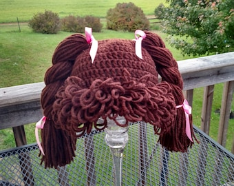 """Ready to ship! Crochet Cabbage Patch Kid hat wig size 1yr + (18"""")"""