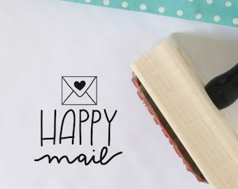 Happy Mail Stamp for Packaging and Shipping, Etsy Shop Stamp, Shipping Stamp, Packaging Stamp, Stamp for Shop Owners, Snail Mail Stamp