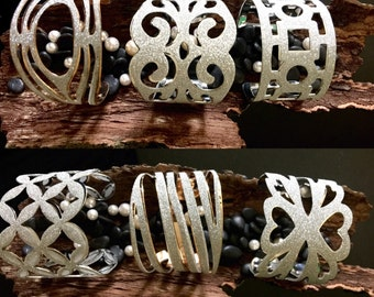 Silver Applique Bangles, Bendable, Fun, Fashion, Bold