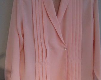 Vintage Claude Bennett Light Pink Blouse Pleated Front Shawl Collar Long Sleeve Size 8