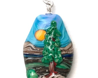 Lone Pine Cove - Handmade Lampwork Glass Sculptural Landscape 3D Focal Bead Pendant on Sterling Silver