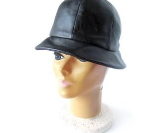 Vintage Black Leather Hat with Brim / Women's Hat / Sanlea Hats New York / Mod Winter Hat / Floppy Leather Cap / Size 22 Small