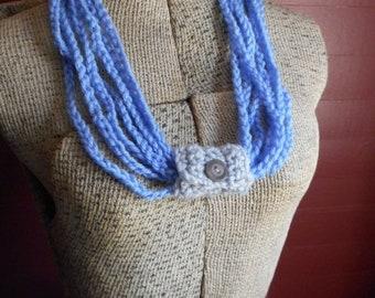 The Gypsy Blue Crochet Infinity Scarf Boho Necklace Stringy Layered Fashion Skinny Perwinkle Blue Light Grey Gray goose vintage button slide