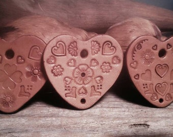 Hand Stamped Heart Components Hand Stamped Leather Jewelry Component's Hand Stamped Leather Heart Jewelry Heart Components Jewelry Supplies