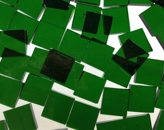 Mosaic Tiles - 100 Small Squares - Green Stained Glass - Hand-Cut