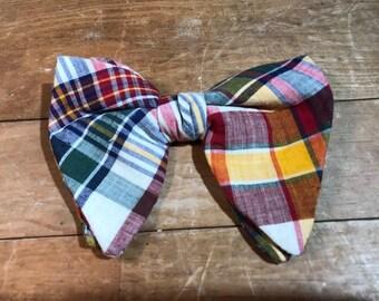 1970s Madras Plaid Bow Tie