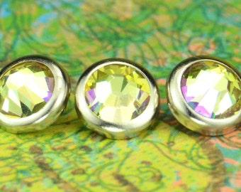 10 Luminous Green Crystal Hair Snaps - Round Silver Rim Edition -- Made with Swarovski Crystal Element Rhinestones