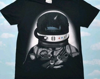 Vintage Disneyland space mountain ride astronaut Disney unisex t-shirt top graphic tee size L