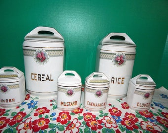Canisters 2 Large Cereal&Rice 4 Small Cloves Cinnamon Mustard Ginger 12 Piece Vintage Porcelain Czechoslovakia UNION X Sold as Complete Set