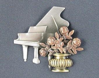 Baby Grand Piano Brooch- Piano Brooch- Piano Jewelry