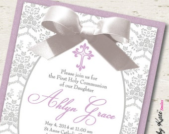 Girl First Communion Invitation Lavender and Silver