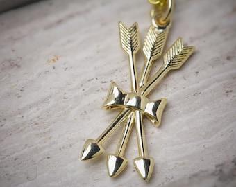 14K SOLID Yellow Gold Triple Arrow Pendant