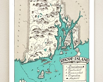 RHODE ISLAND MAP - pictorial map print - size & color choices - personalize it - coastal decor - vintage wall art - wedding gift idea