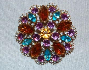 Large Rhinestone Brooch,  Lavender Amber Blue, Vintage old jewelry