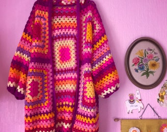 Slouchy granny square hoodie