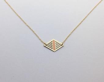 Geometric Laser Cut Diamond Necklace Peach and Gold Delicate Minimal Jewelry