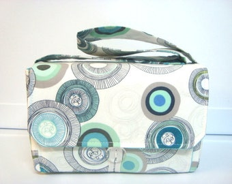 "Large 4"" Size Coupon Organizer Budget Organizer Coupon Box  Attaches to Your Shopping Cart - Gray and Turquoise Mod Circles Feel Different"