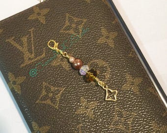 Chic Brown & Gold Planner Charm, Planner Accessory, Zipper Pull, Handbag Dangle