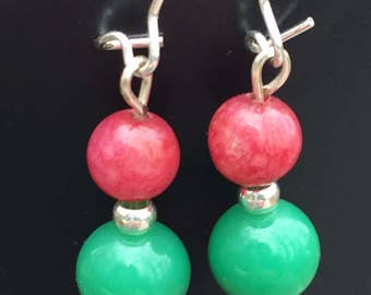 Red and green earrings, dangle earrings, glass bead earrings, trendy earrings, gypsy earrings, bohemian earrings, hippy earrings