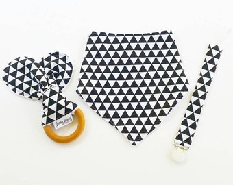Bandana Bib, Natural Teething Ring with Bunny Ears and Pacifier Clip in Black and White Triangles Minimalist Baby Black and White Drool Bib